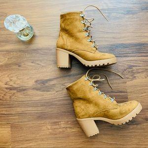 Liliana Brown Heel Tie Boots Size 6